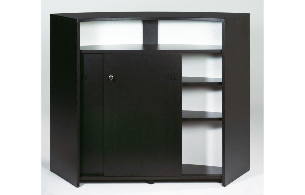Comptoir de bar blanc ou noir 134cm double porte for Meuble blanc ou noir