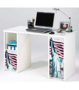 Bureau blanc avec caissons et rideau imprimé 4 coloris Statue USA