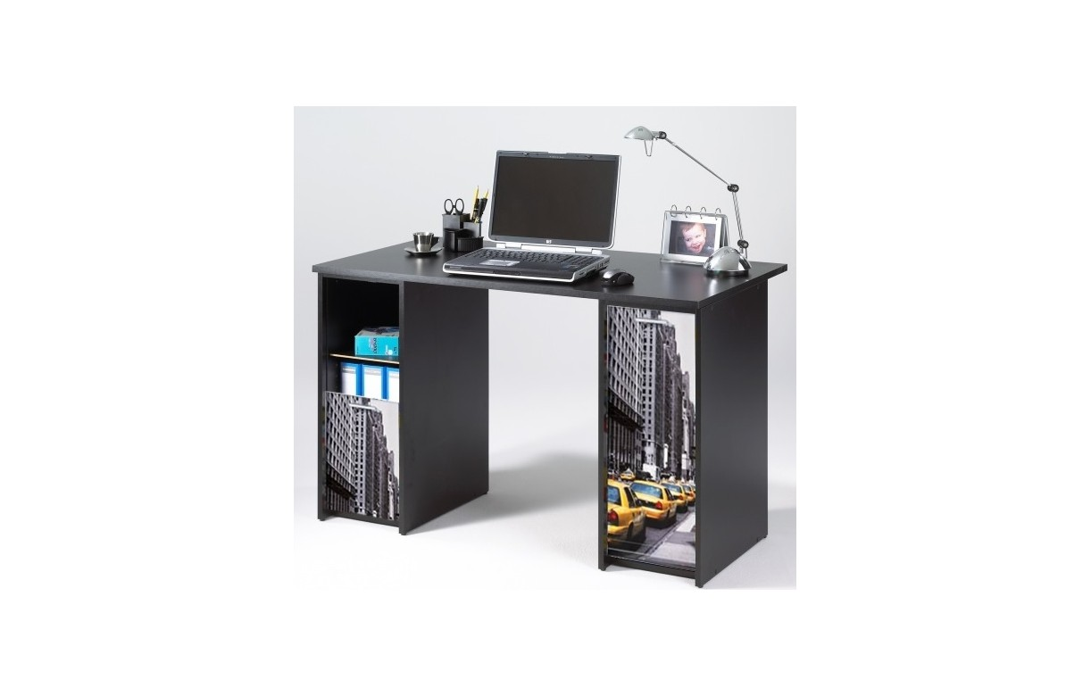 Bureau noir avec caissons rideau coulissant new york for Bureau new york conforama