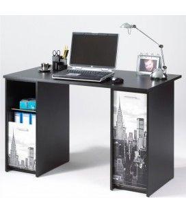 Bureau avec caissons et rideau imprimé New York 4 coloris