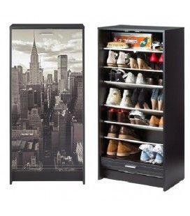Armoire a chaussures noir ou blanc à rideau déroulant 20 paires NEW YORK
