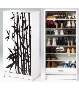 Range chaussures blanc ou noir à rideau déroulant 20 paires Zen BAMBOU