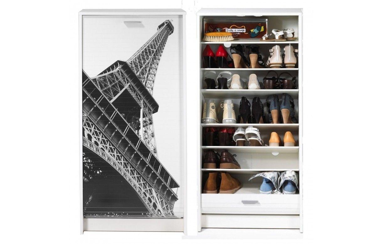 Meuble chaussures blanc ou noir rideau d roulant 21 - Meuble a chaussure paris ...