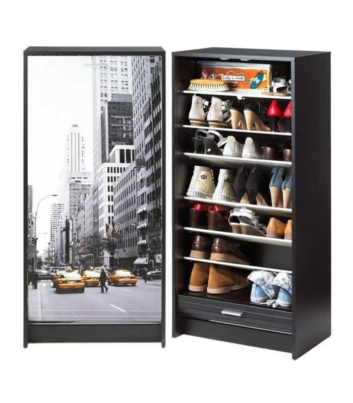 meuble a chaussures noir ou blanc rideau d roulant 21 paires taxi new york decome store. Black Bedroom Furniture Sets. Home Design Ideas