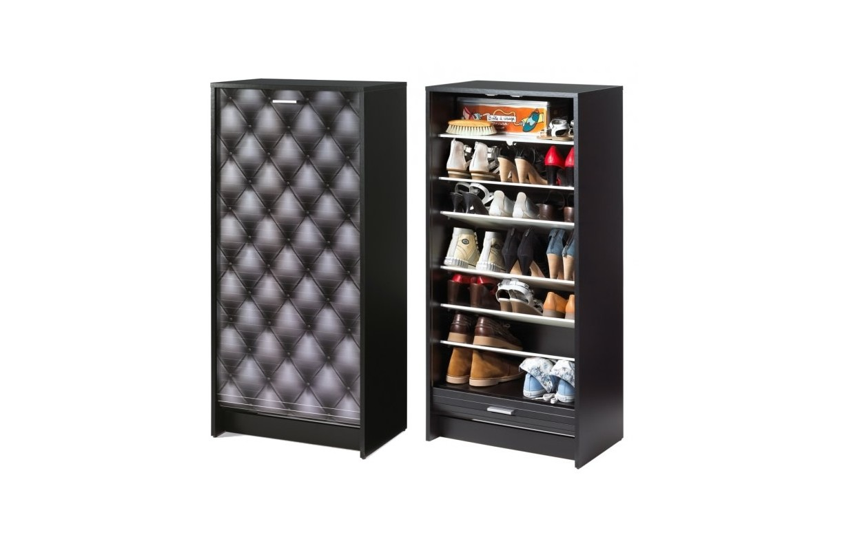 rangement pour chaussures noir ou blanc rideau 21 paires capitonne decome store. Black Bedroom Furniture Sets. Home Design Ideas