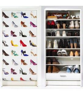 Rangement pour chaussures blanc ou noir à rideau 20 paires Chaussures