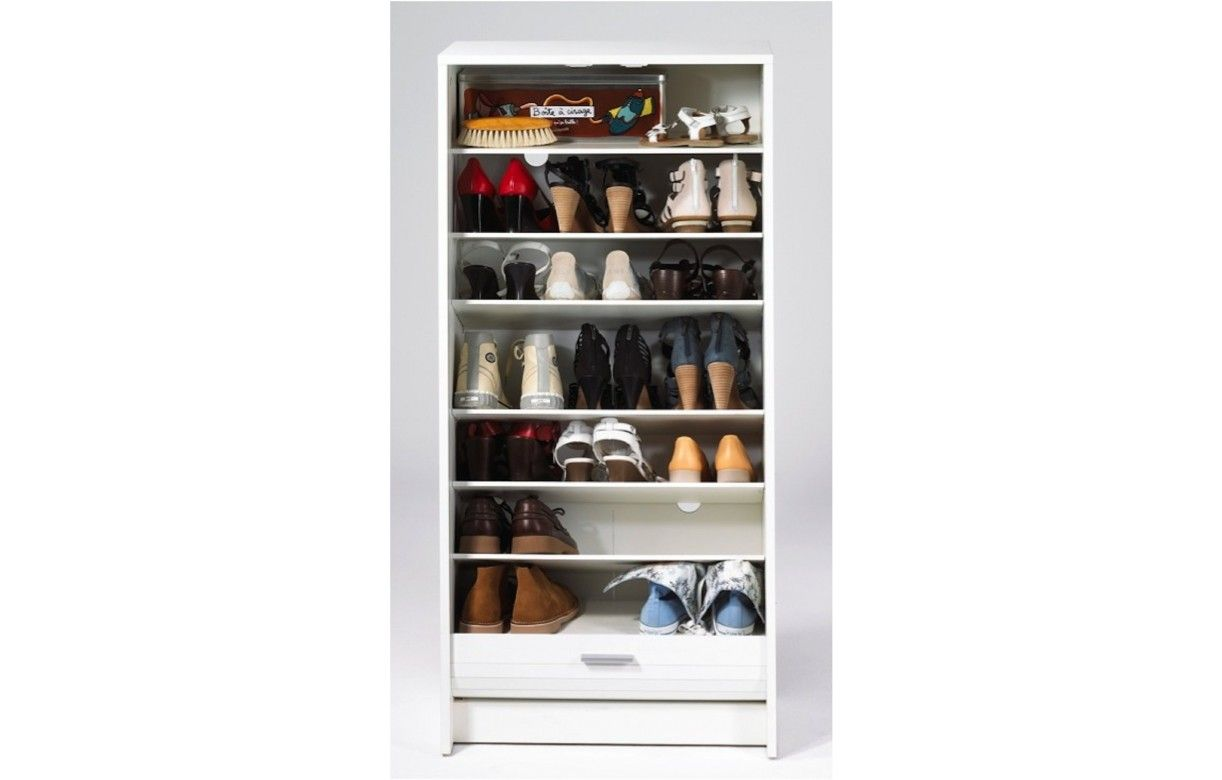 Meuble chaussures blanc 20 paires avec rideau d roulant - Meuble chaussure rond ...