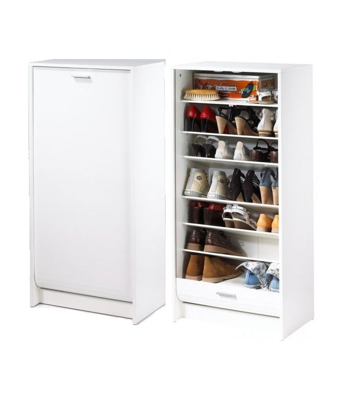 meuble chaussures blanc 20 paires avec rideau d roulant decome store. Black Bedroom Furniture Sets. Home Design Ideas