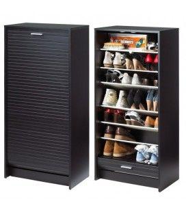 Meuble à chaussures Noir 20 paires avec rideau déroulant