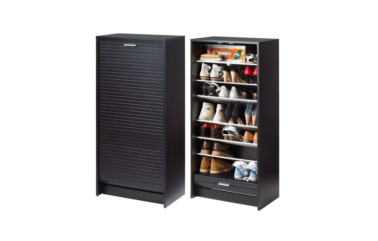 meuble chaussures noir 20 paires avec rideau d roulant. Black Bedroom Furniture Sets. Home Design Ideas