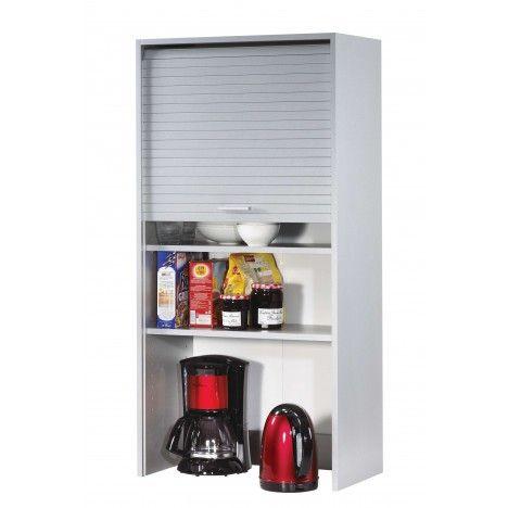 Rangement de cuisine aluminium avec rideau d roulant for Meuble cuisine 60 cm de large