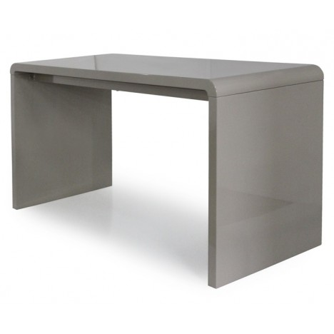 Bureau bureau design blanc laqu avec rangement compact for Console bureau blanc