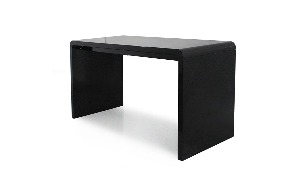 Bureau laqu noir petit bureau design pas cher Lepolyglotte