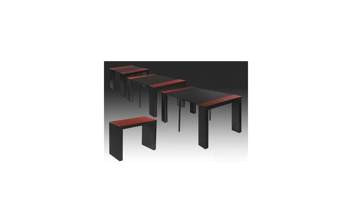 Table console extensible laqu e et verre tremp e rouge et for Table verre noir extensible