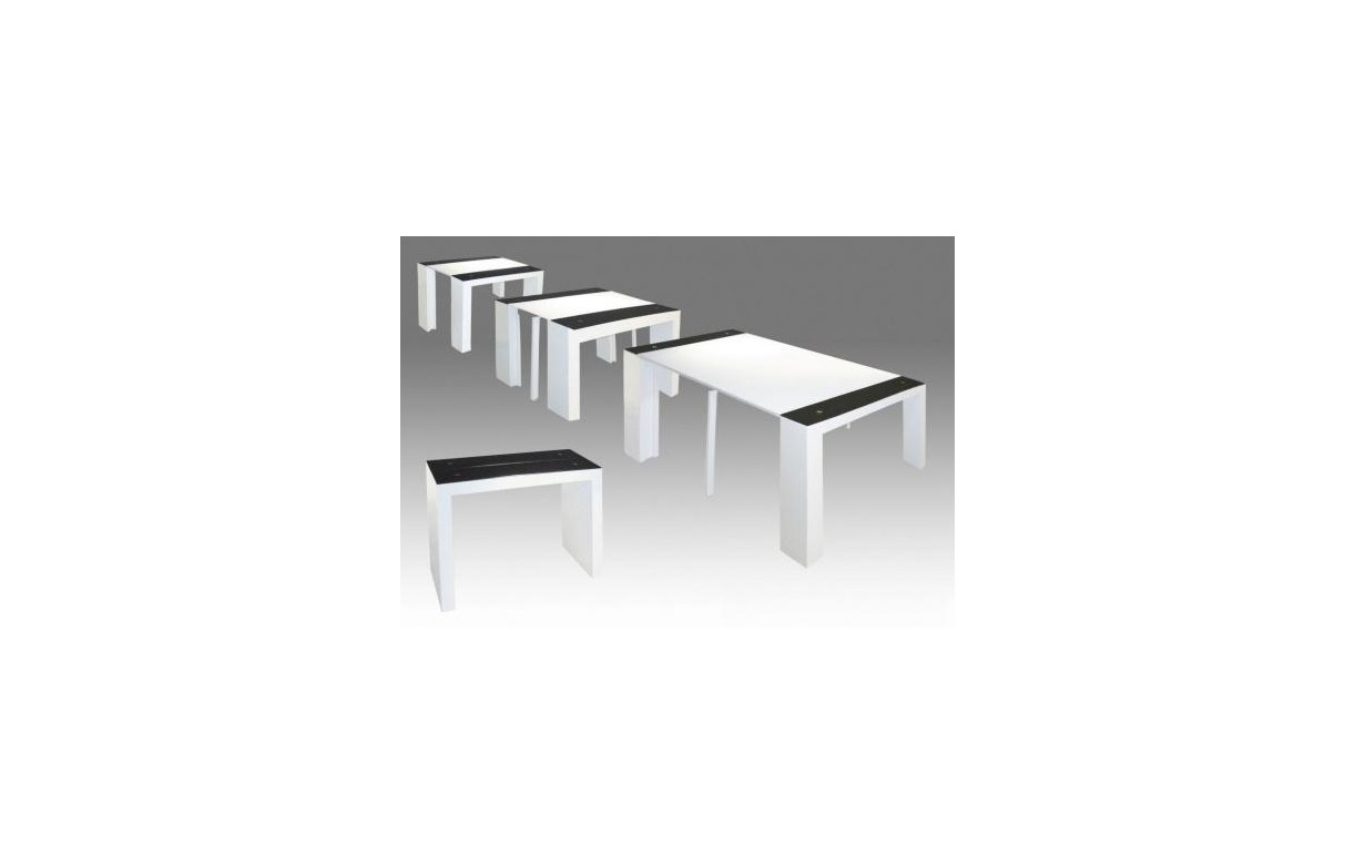 Table console extensible laqu e et verre tremp noir et for Table verre blanc extensible
