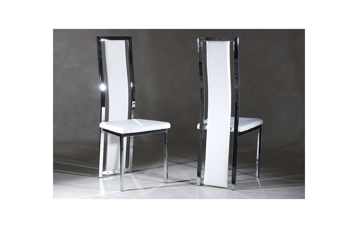 Chaise design vinyle blanc et chrome gost lot de 6 decome store - Chaise noir et blanc design ...