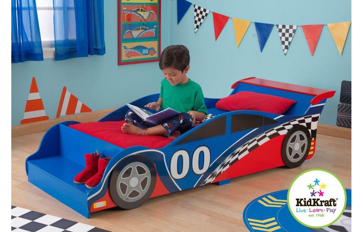 Lit petit gar on bleu et rouge voiture formule 1 decome - Chambre garcon bleu et rouge ...