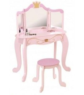 Coiffeuse et tabouret rose petite fille Princesse