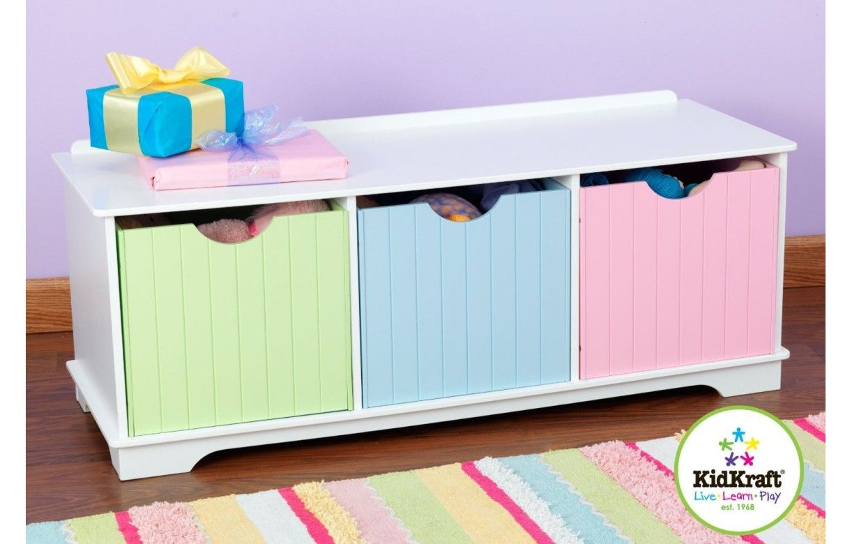 Banc de rangement chambre enfant 3 cases blanc decome store for Rangement pratique chambre