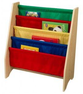 Bibliothèque pour enfants bois et toile souple 4 couleurs