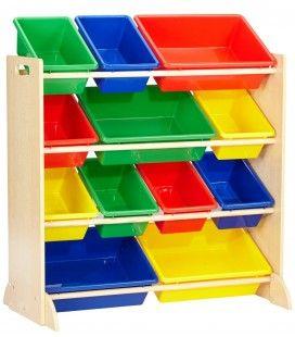 Meuble enfants avec bacs de rangement 4 couleurs