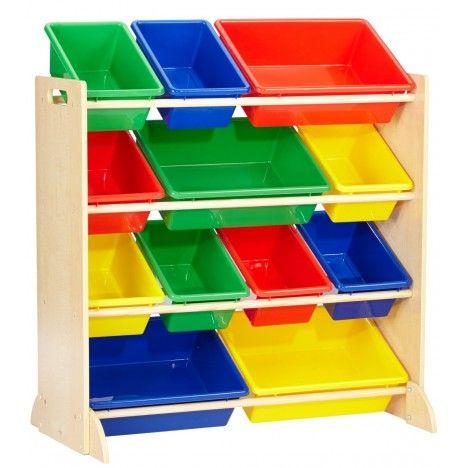 Meuble enfants avec bacs de rangement 4 couleurs decome - Meuble rangement chambre enfant ...