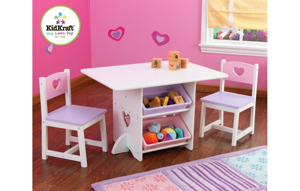 table et 2 chaises pour petite fille en bois avec rangements pastel decome store. Black Bedroom Furniture Sets. Home Design Ideas