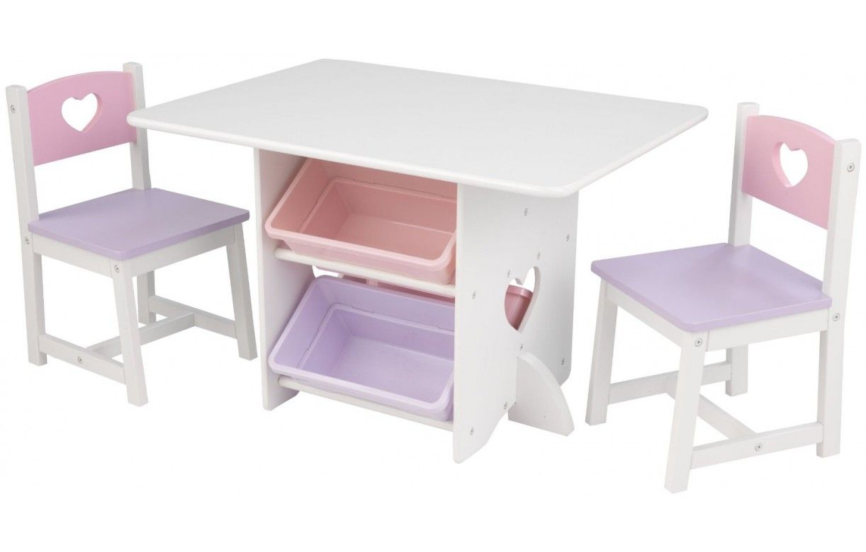 Table et 2 chaises pour petite fille en bois avec rangements pastel decome store - Chaise pour table en bois ...