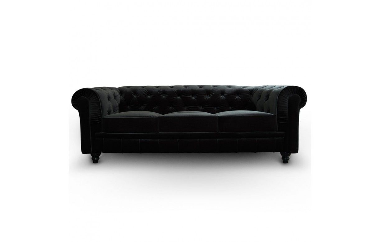 Canap 3 Places Capitonn Violet Chesterfield En Velours