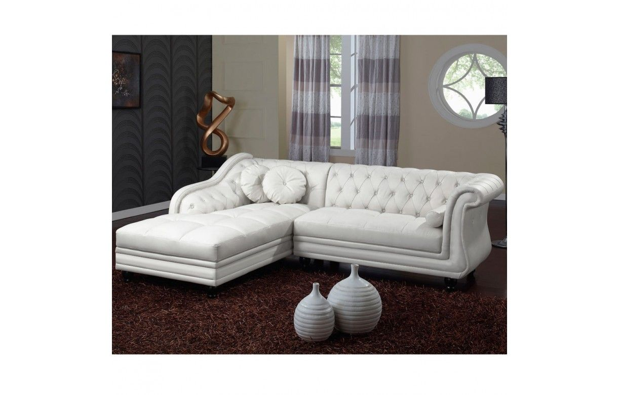 canap d 39 angle gauche en cuir pu blanc chesterfield 5 coloris decome store. Black Bedroom Furniture Sets. Home Design Ideas