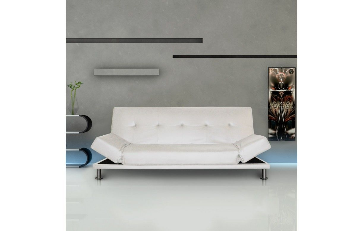 mobilier table canap blanc simili cuir. Black Bedroom Furniture Sets. Home Design Ideas