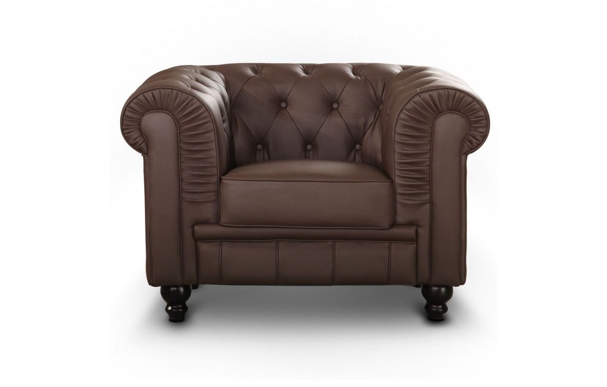 fauteuil en simili cuir capitonn chesterfield 7 coloris decome store. Black Bedroom Furniture Sets. Home Design Ideas