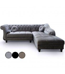 Canapé d'angle à droite en velours Argent Chesterfield - 3 coloris