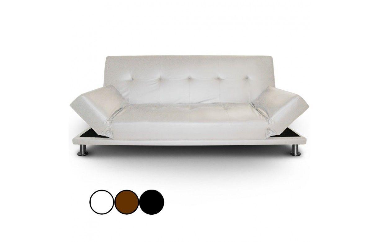 canap lit en simili cuir noir avec pieds inox liberty decome store. Black Bedroom Furniture Sets. Home Design Ideas