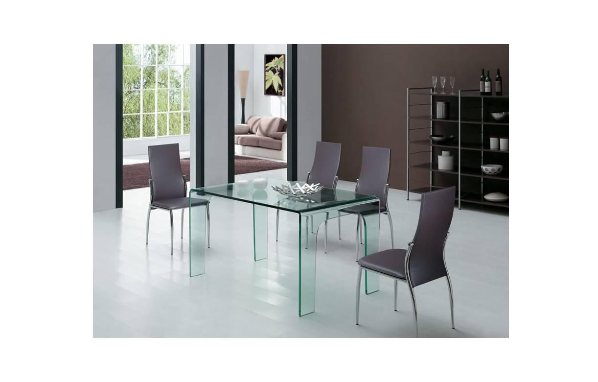 Table manger en verre tremp transparent for Table a manger en verre trempe