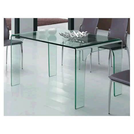 Table manger en verre tremp transparent for Table largeur 70 cm avec rallonge