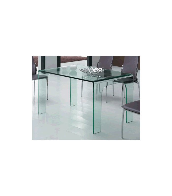 Table manger en verre tremp transparent for Meuble tv transparent