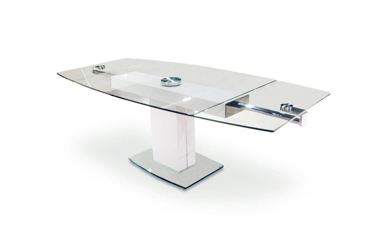 Table manger extensible en verre tremp - Table cuisine verre trempe ...
