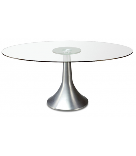 Table de repas ronde en verre transparent ARONY