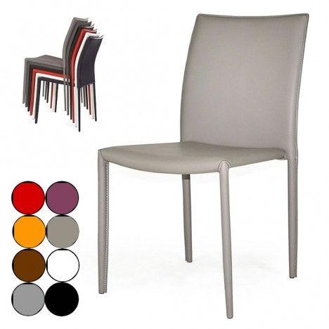 Chaise en simili cuir empilable Simplio - 8 coloris