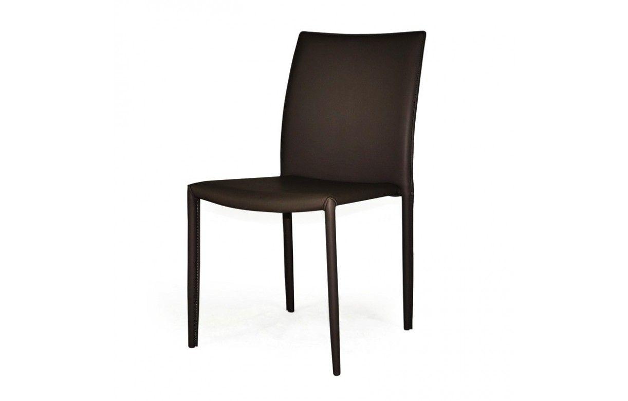 Chaise empilable en simili cuir design - Chaises en cuir design ...
