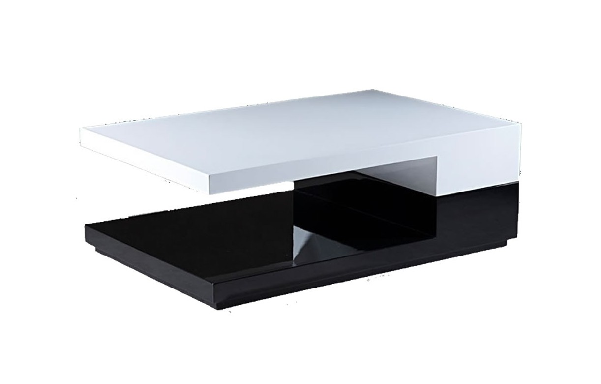 table basse pivotante laqu e noire et blanche design. Black Bedroom Furniture Sets. Home Design Ideas