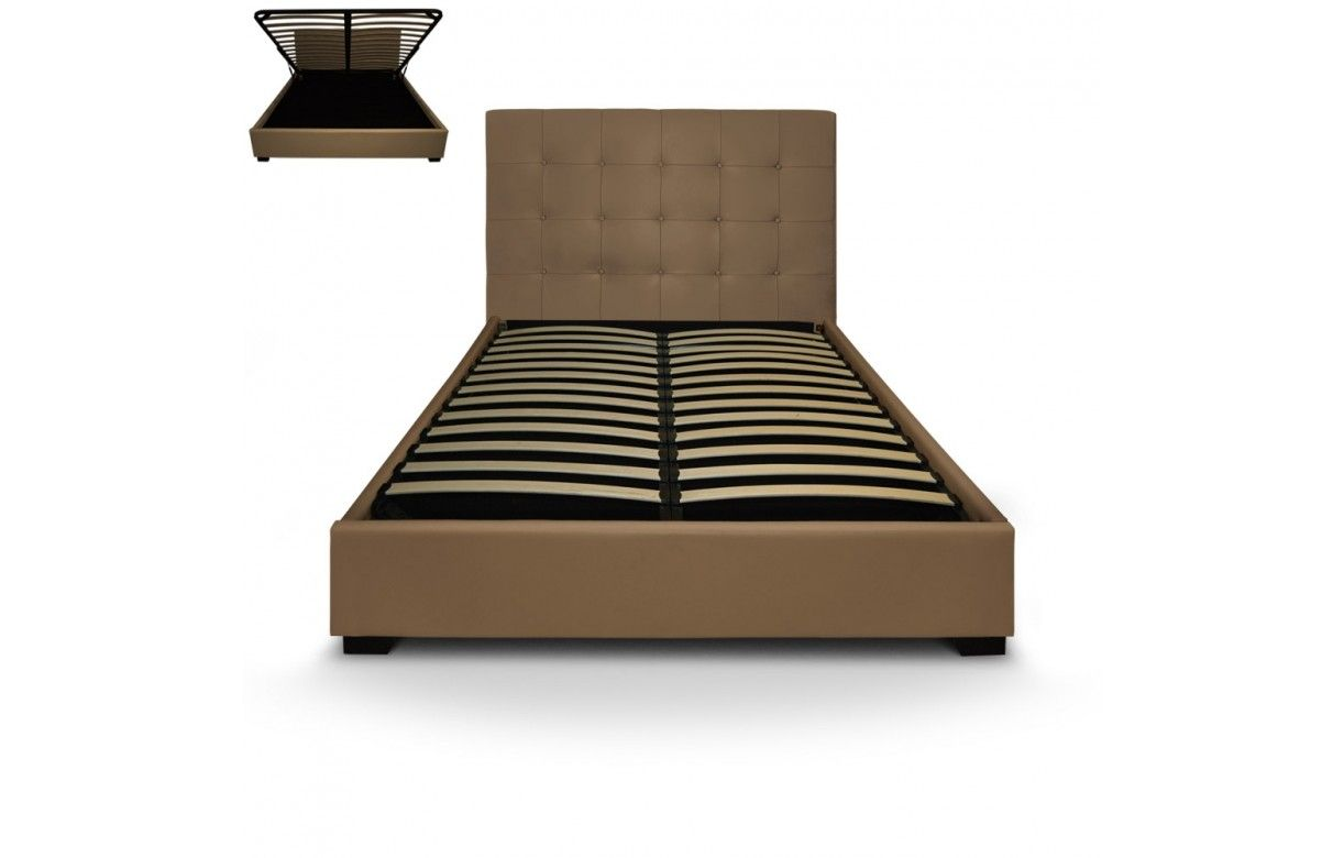 lit coffre double taupe avec sommier relevable 140 cm. Black Bedroom Furniture Sets. Home Design Ideas