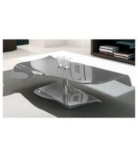 Table basse fixe en verre laqué gris SQUIZY