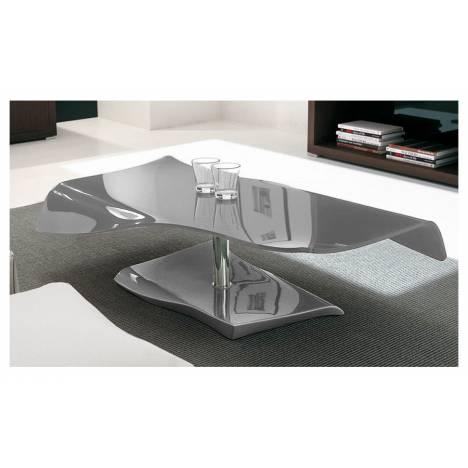 table basse fixe en verre laqu gris squizy decome store. Black Bedroom Furniture Sets. Home Design Ideas