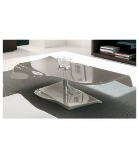 Table basse fixe en verre laqué taupe SQUIZY