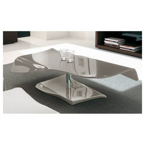 Table basse taupe en verre laqu design - Table basse taupe laque ...