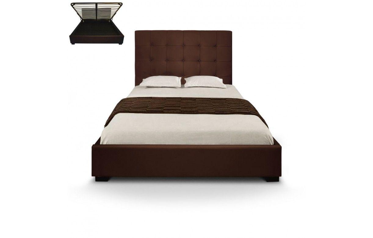 lit coffre double taupe avec sommier relevable 140 cm. Black Bedroom Furniture Sets. Home Design Ideas