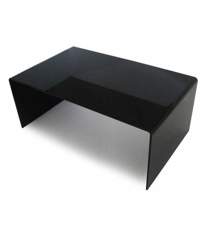 Table basse en verre noir rectangle simple design - Table basse noir verre ...