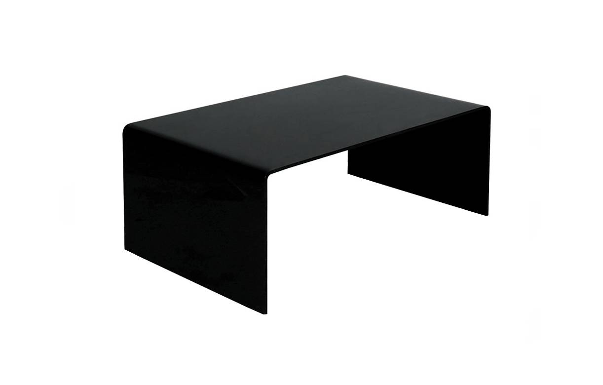 Table basse en verre noir rectangle simple design - Table basse en verre noir ...